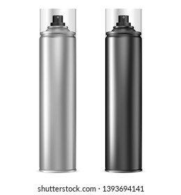 Aluminum Spray Can. Aerosol Bottle Set in Black. Paint Tin with Cap. Compressed Foam Chrome Packaging with Plastic Lid. Deodorant or Hairspray Cosmetic Cylinder Tube. Silver Antiperspirant Template.