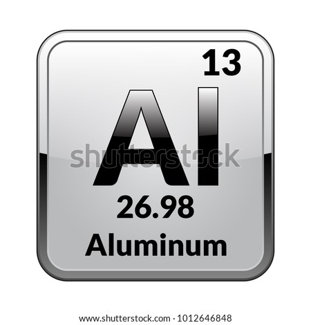 Aluminum Symbol Chemical Element Periodic Table On Stock Vector