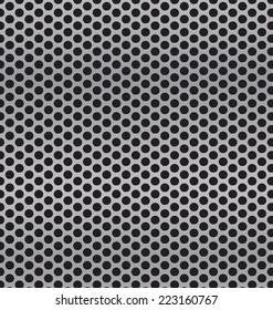aluminum Technology background with black circle perforated carbon speaker grill texture vector illustration