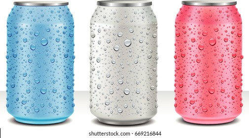 Aluminum Tin Cans in white, pink, light blue with fresh water drops