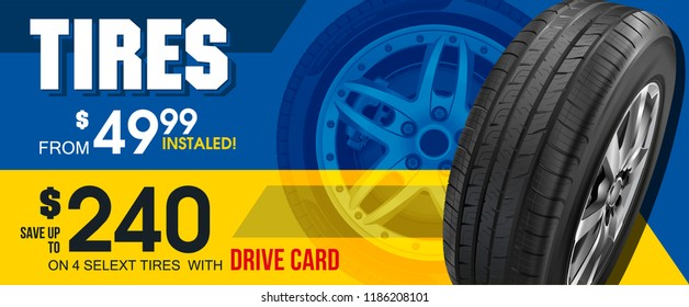 Aluminum wheel. Banner. Promo. Information. Store. Banner. Action. Tire car advertisement poster. 3D illustration of car tire. Wheel. Black rubber tire. Realistic vector shining disk car wheel tyre.