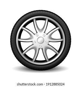 Aluminum wheel car tire racing on white background, realistic 3d vehicle rubber tire with glossy steel disk isolated. Vector illustration