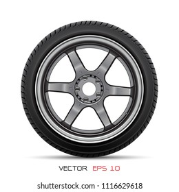Aluminum wheel car tire style racing on white background vector illustration.