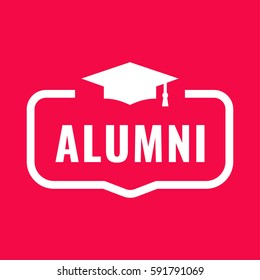 Alumni. Badge with graduation hat icon. Flat vector illustration on red background.