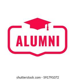 Alumni. Badge with graduation hat icon. Flat vector illustration on white background.