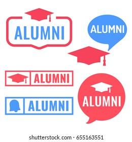 Alumni. Badge, icon, sign, stamp. Flat vector set illustration on white background.