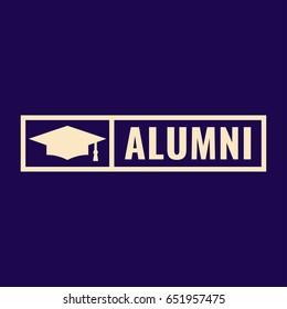 Alumni. Badge logo, icon, symbol, mark, stamp. Flat vector illustration on dark background.