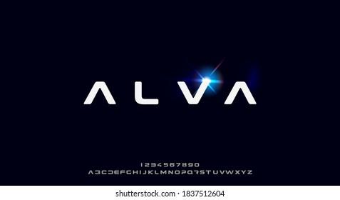 Alva, a bold and futuristic font, modern scifi typeface design. Alphabet vector illustration - Shutterstock ID 1837512604