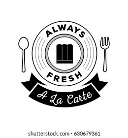 always fresh food guarantee logo with a la cate ribbon ,spoon and fork symbol