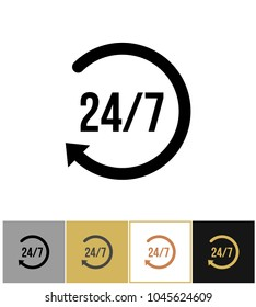 Always open icon, steady anytime work pictogram on gold, black and white backgrounds vector illustration