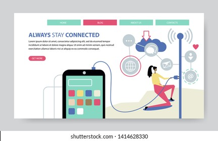 Always Stay Connected, creative website template, flat design vector illustration