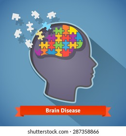 Alzheimer brain disease, shattering human brain, memory loss and mental problems concept. Flat style icon.