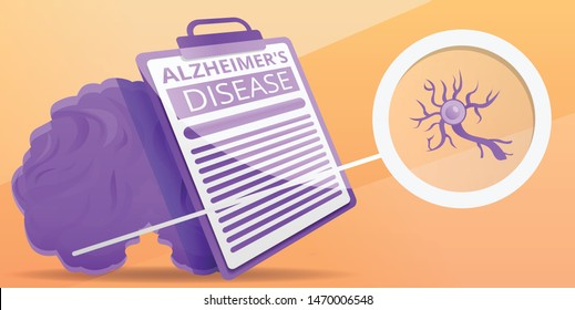 Alzheimer disease concept banner. Cartoon illustration of alzheimer disease vector concept banner for web design