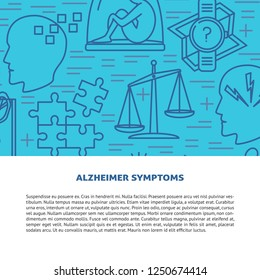 Alzheimers disease concept banner template in line style