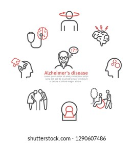Alzheimer's disease and dementia banner. Symptoms. Line icons set. Vector signs for web graphics.