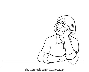 Alzheimer's disease elderly woman, sitting alone, looking in blank space. Outline, linear thin line art, hand drawn sketch design, simple style.
