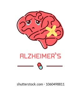 Alzheimer's disease poster. Cute unhealthy sad brain symbol in cartoon style. Side view. Body anatomy sign. Chronic neurodegenerative disease. Medical internal organ vector illustration.
