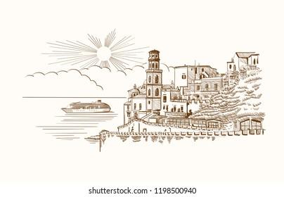 Amalfi, Italy - panorama. Vector illustration
