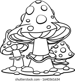 Amanita in cartoon style, coloring page. Education paper game for the development of children, kids preschool activity.