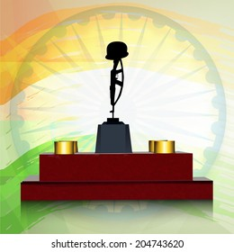 Amar jawan jyoti images stock photos vectors shutterstock amar jawan jyoti with ashoka wheel on shiny national flag colour background for 15th of august altavistaventures Choice Image