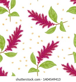 Amaranth plant and seeds seamless pattern on white background. Vector illustration of blooming purple pigweed with green leaves and grains in cartoon flat style.