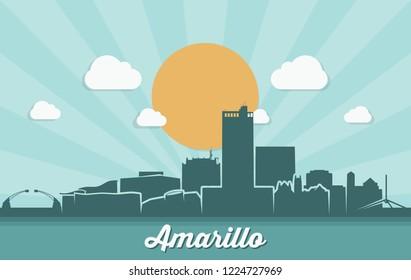 Amarillo skyline - Texas, United States of America, USA - vector illustration