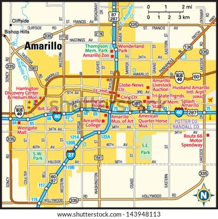 Map Of Texas Amarillo.Amarillo Texas Area Map Stock Vector Royalty Free 143948113