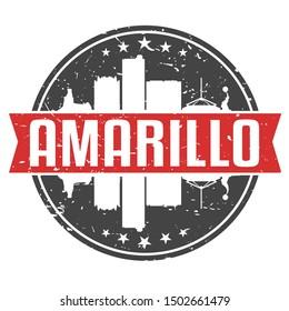Amarillo Texas Round Travel Stamp. Icon Skyline City Design. Seal Tourism.