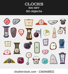 Amasing And Stylish Vector Isolated Big Clock Set. 30 different objects. Cartoon style Modern. Objects for interior or scene. Retro and Vintage, Romantic and Naive. Wall clock, Street Clock, Alarm