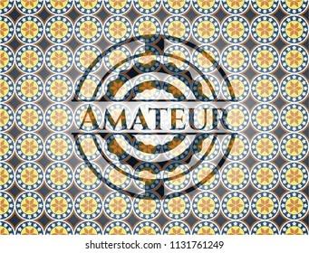 Amateur arabesque badge. arabic decoration.