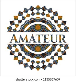 Amateur arabesque emblem. arabic decoration.