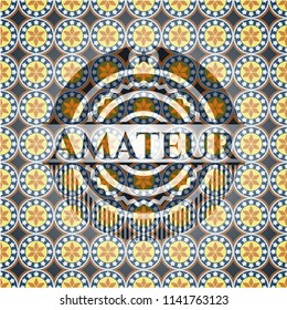 Amateur arabesque emblem background. arabic decoration.