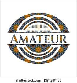 Amateur arabesque style badge. arabic decoration.