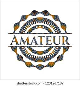 Amateur arabic emblem. Arabesque decoration.