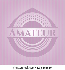 Amateur badge with pink background