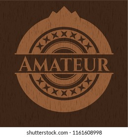 Amateur badge with wooden background