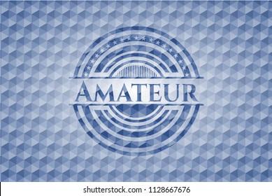Amateur blue emblem with geometric background.