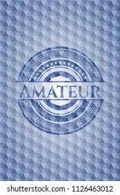 Amateur blue polygonal emblem.