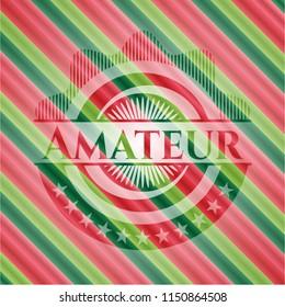 Amateur christmas colors style badge.