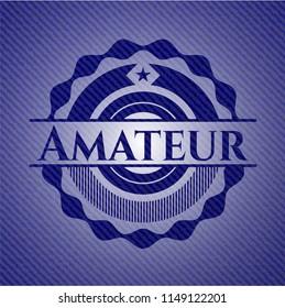 Amateur emblem with denim high quality background