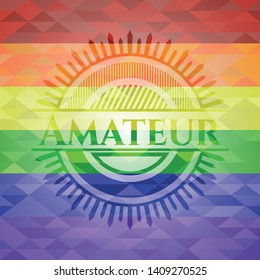 Amateur emblem on mosaic background with the colors of the LGBT flag