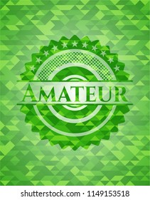 Amateur green emblem with triangle mosaic background