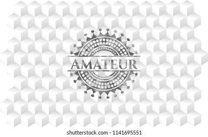 Amateur grey badge with geometric cube white background