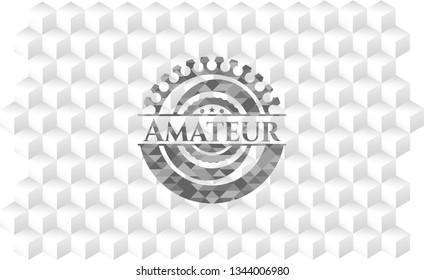 Amateur grey badge with geometric cube white background