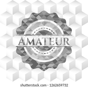 Amateur grey emblem with geometric cube white background