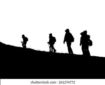 Amateur hiking on a mountain trail
