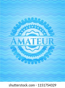 Amateur light blue water wave style badge.