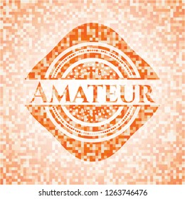 Amateur orange mosaic emblem with background