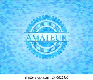 Amateur realistic sky blue mosaic emblem