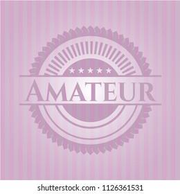 Amateur retro style pink emblem